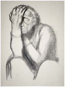 Drawing: Pensive woman, by Kathe Kollwitz