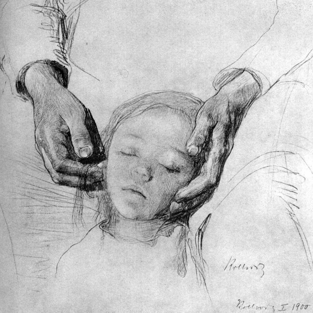 Drawing: the Child's head on it's Mother's Arms, by Kathe Kollwitz