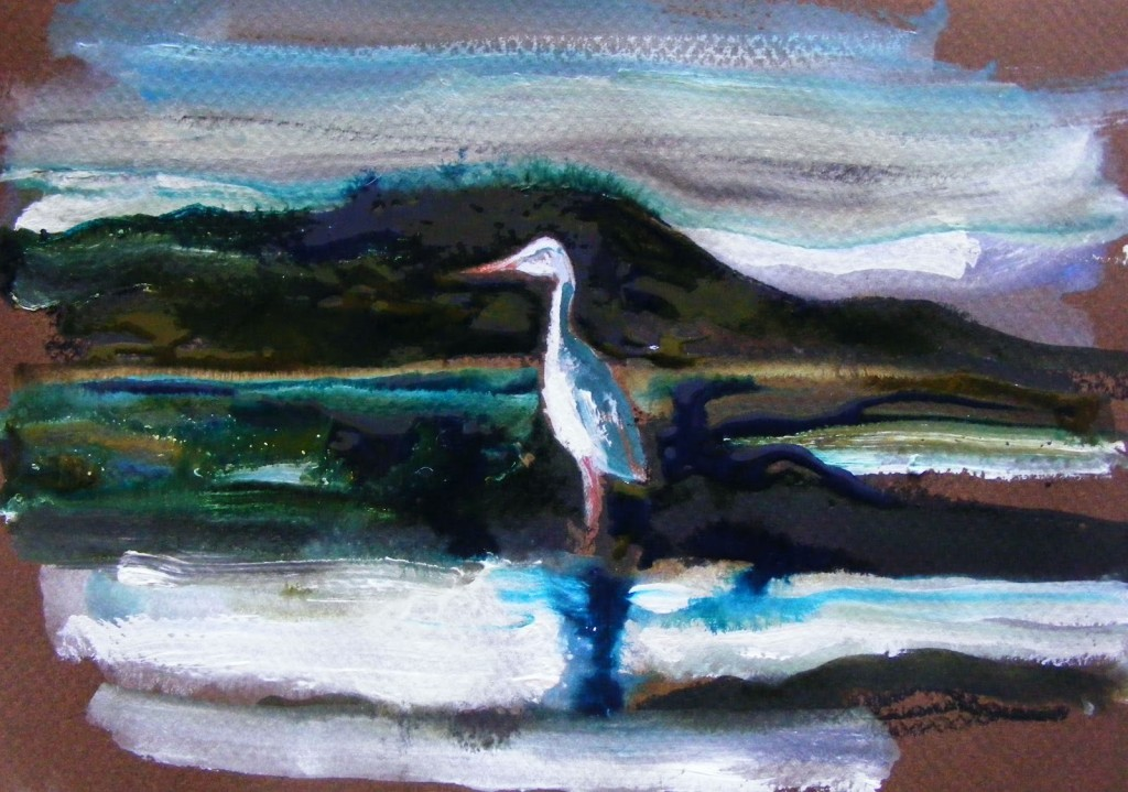 Painting of Seascape with Heron