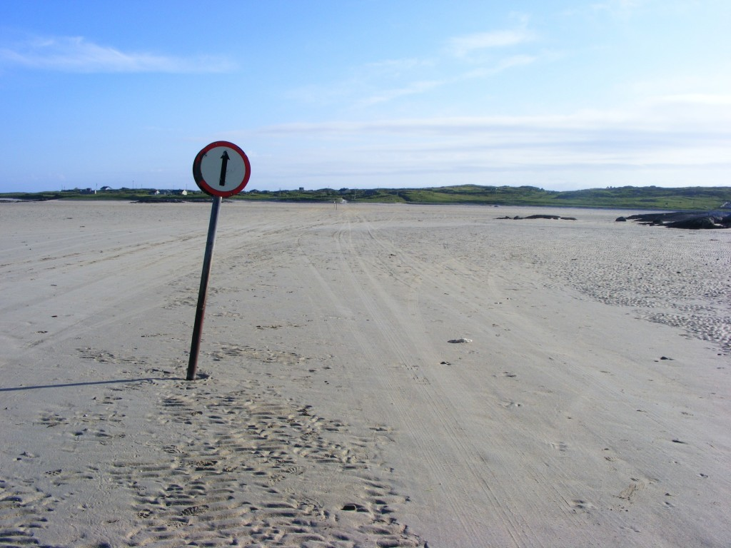 Photograph of road sign on Omey Strand