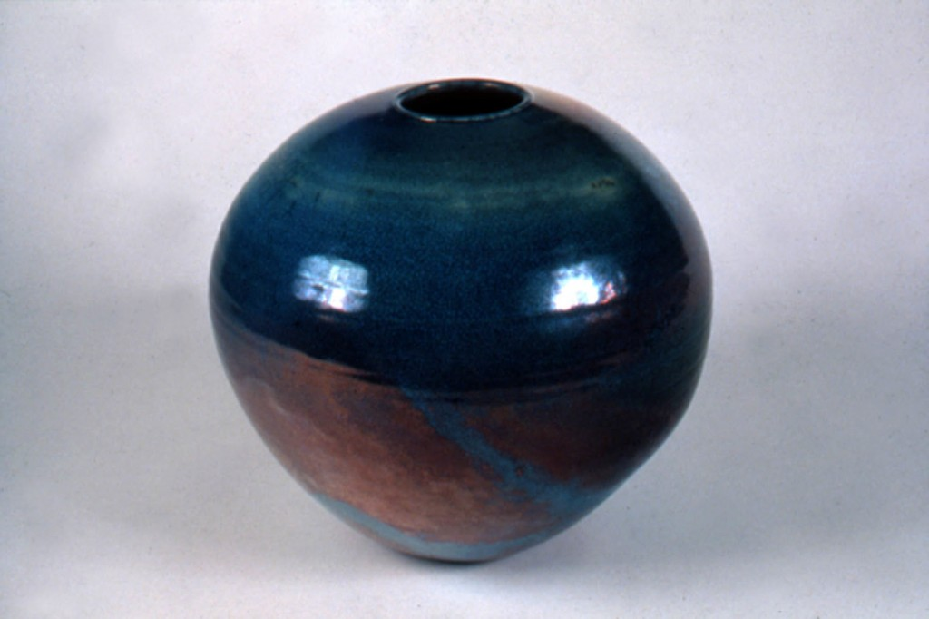 Photograph of raku sphere by Deborah Watkins