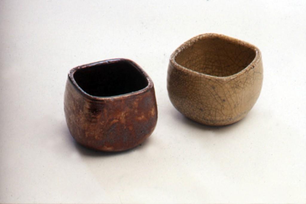 Raku tea bowls by Deborah Watkins
