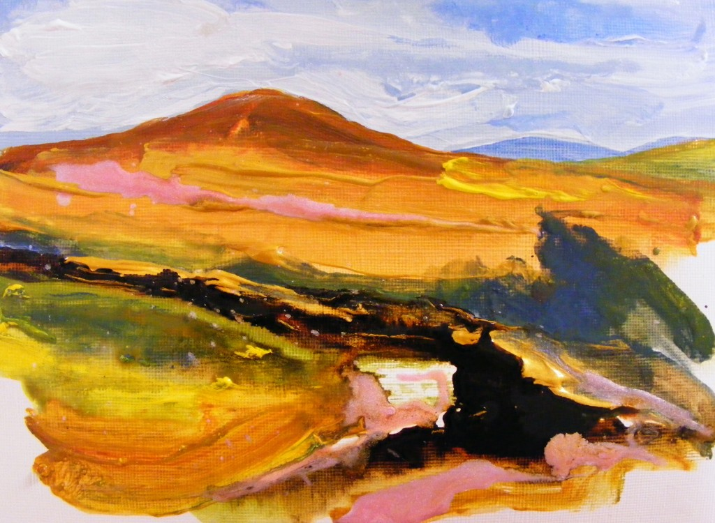 Second stage of golden bog landscape