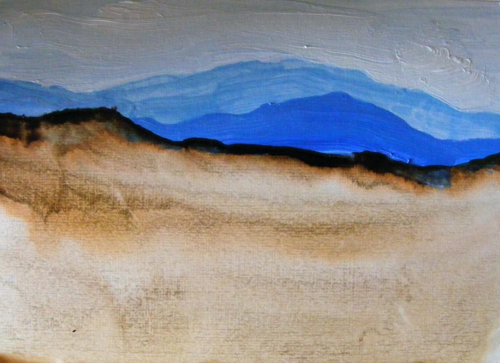 First stage of Black bog painting by Deborah Watkins