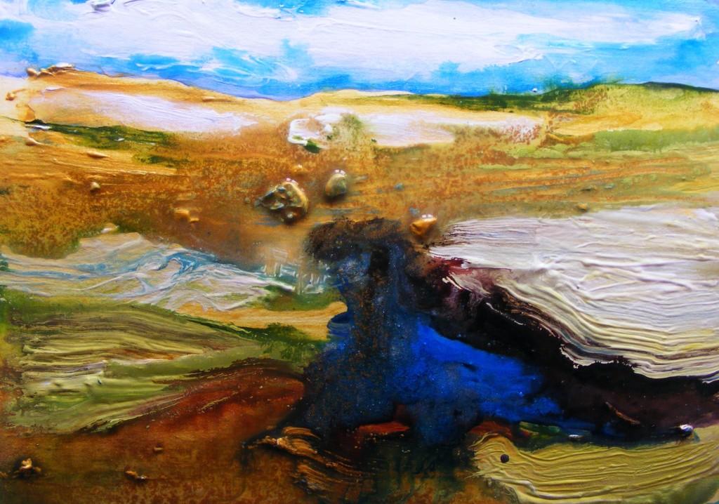 Second stage of 'Miry Place' painting by Deborah Watkins