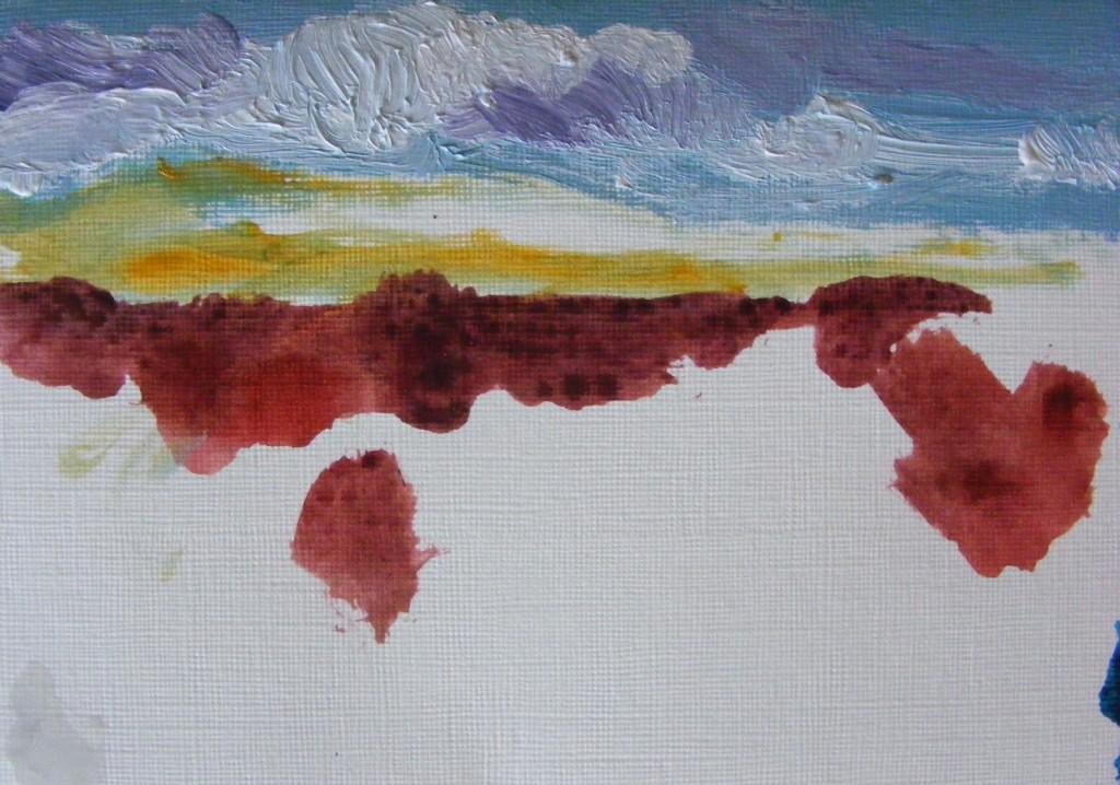 First stage of second bog painting by Deborah Watkins