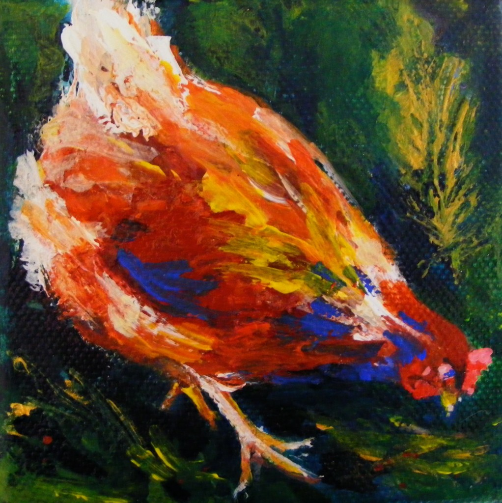 Finished hen painting by Deborah Watkins