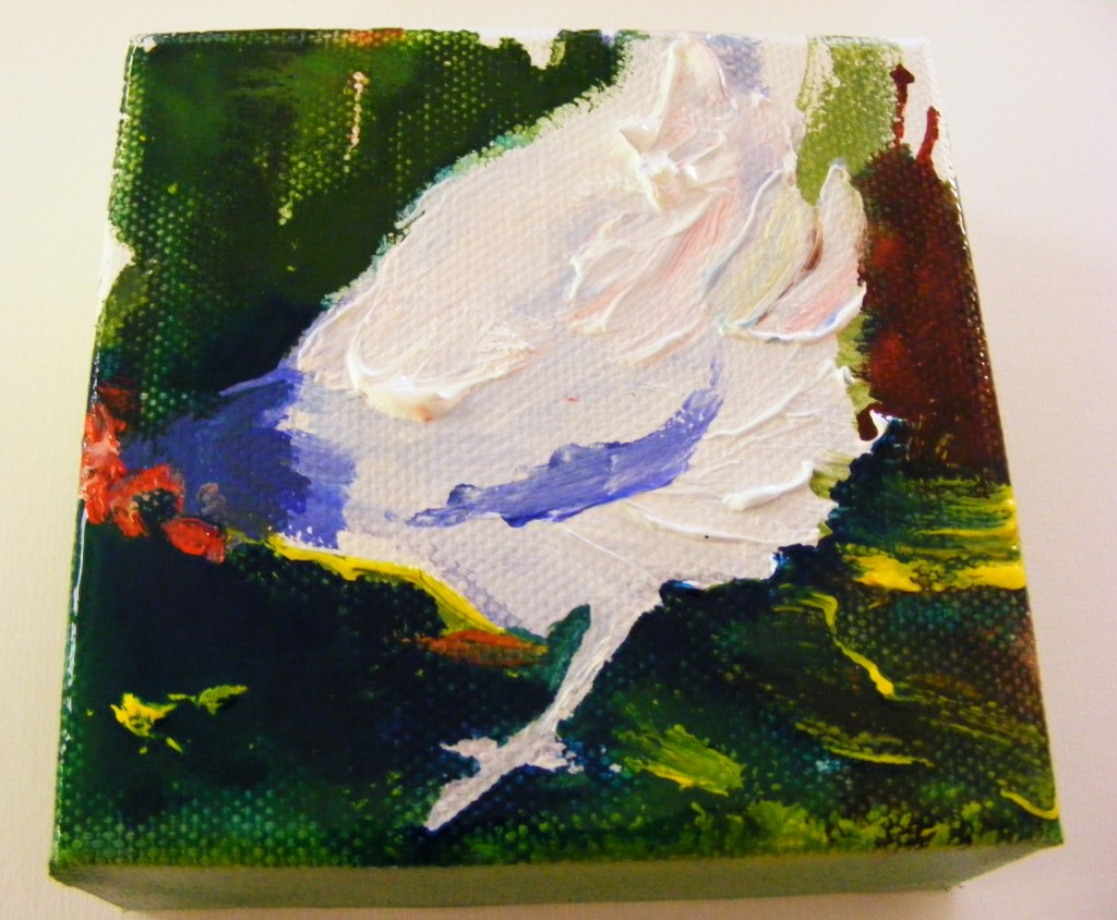 First stage of bluebell hen painting