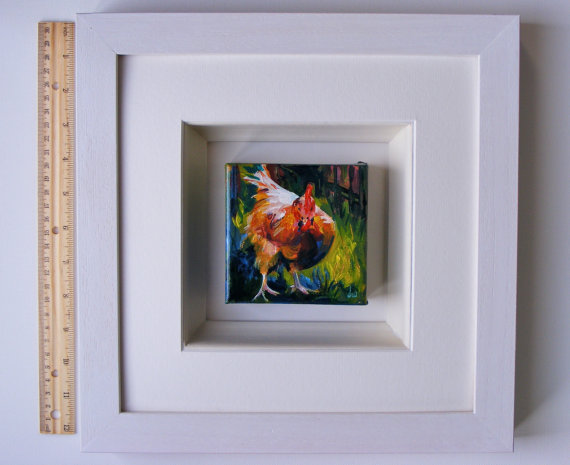 Framed hen painting