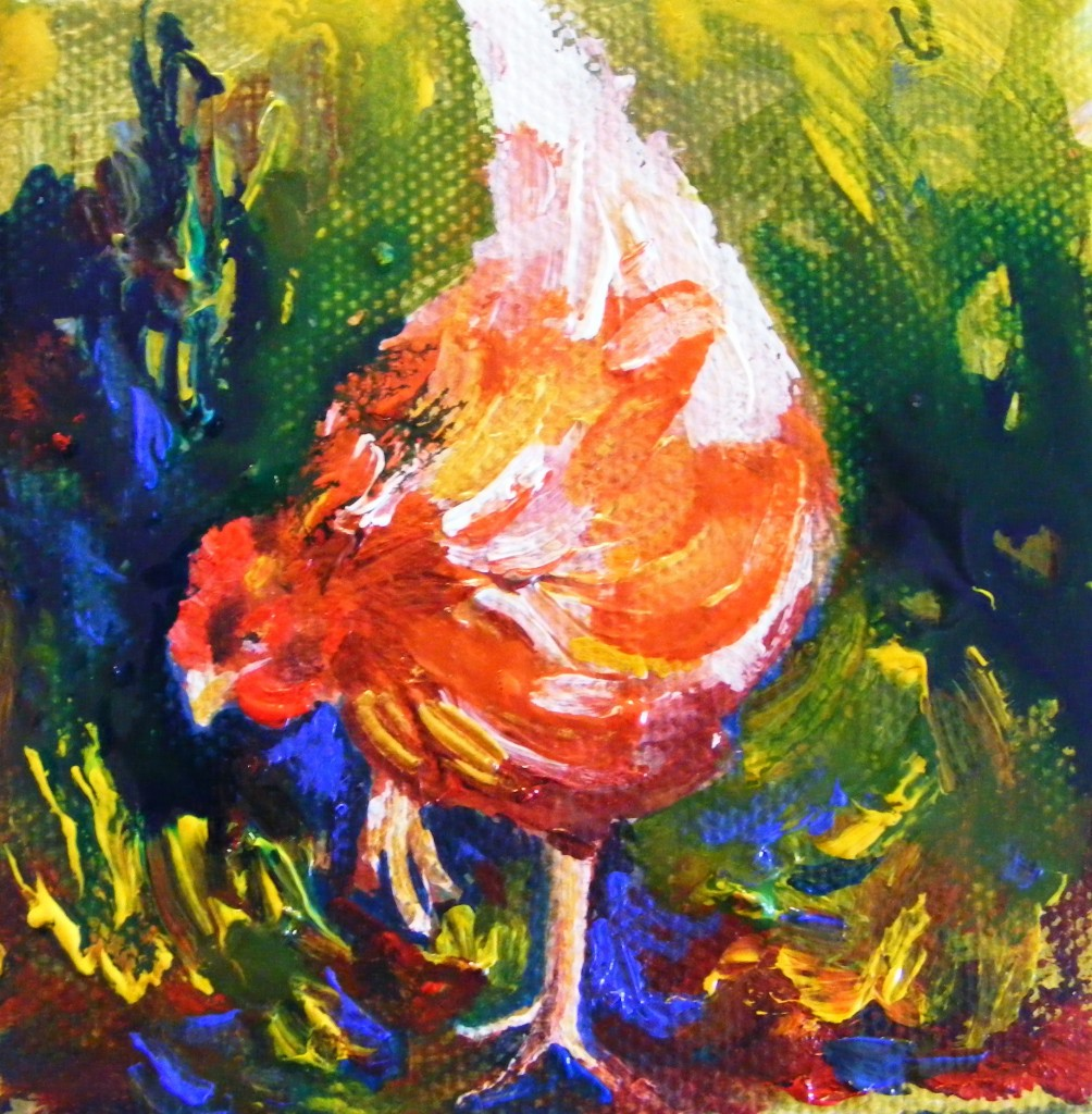 Second hen painting - second stage
