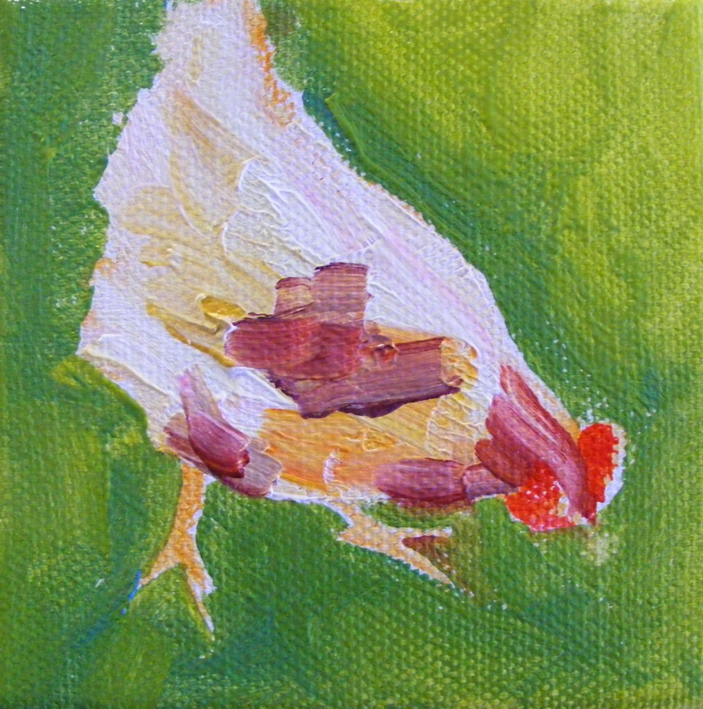 Second stage of hen painting
