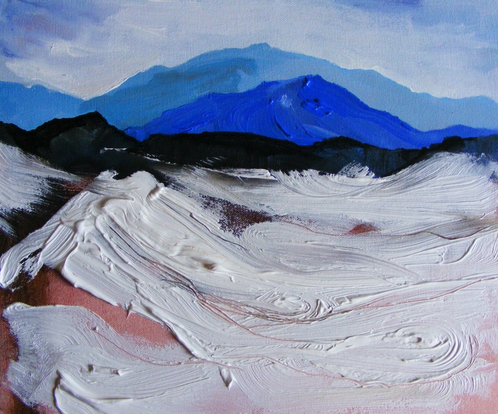 Landscape with a layer of textured paste