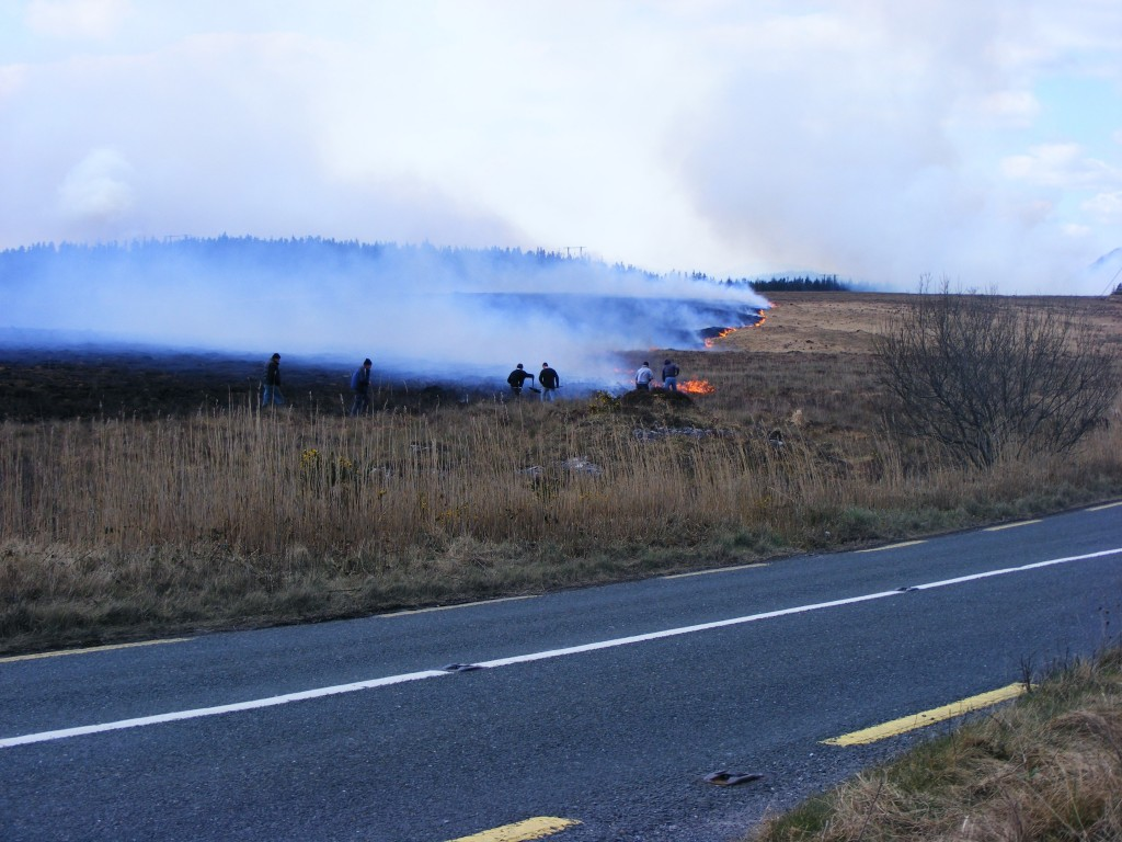 Burning bog near Oughterard