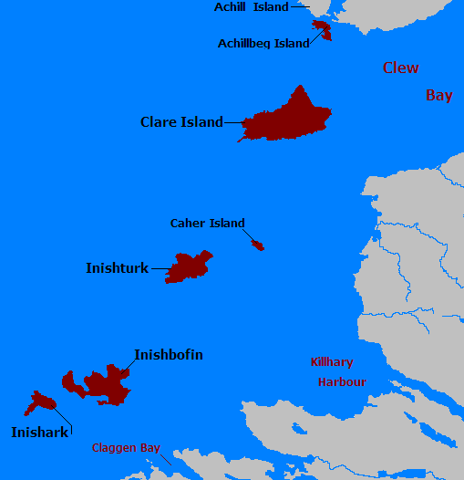 Map of the islands - Turk and Caher