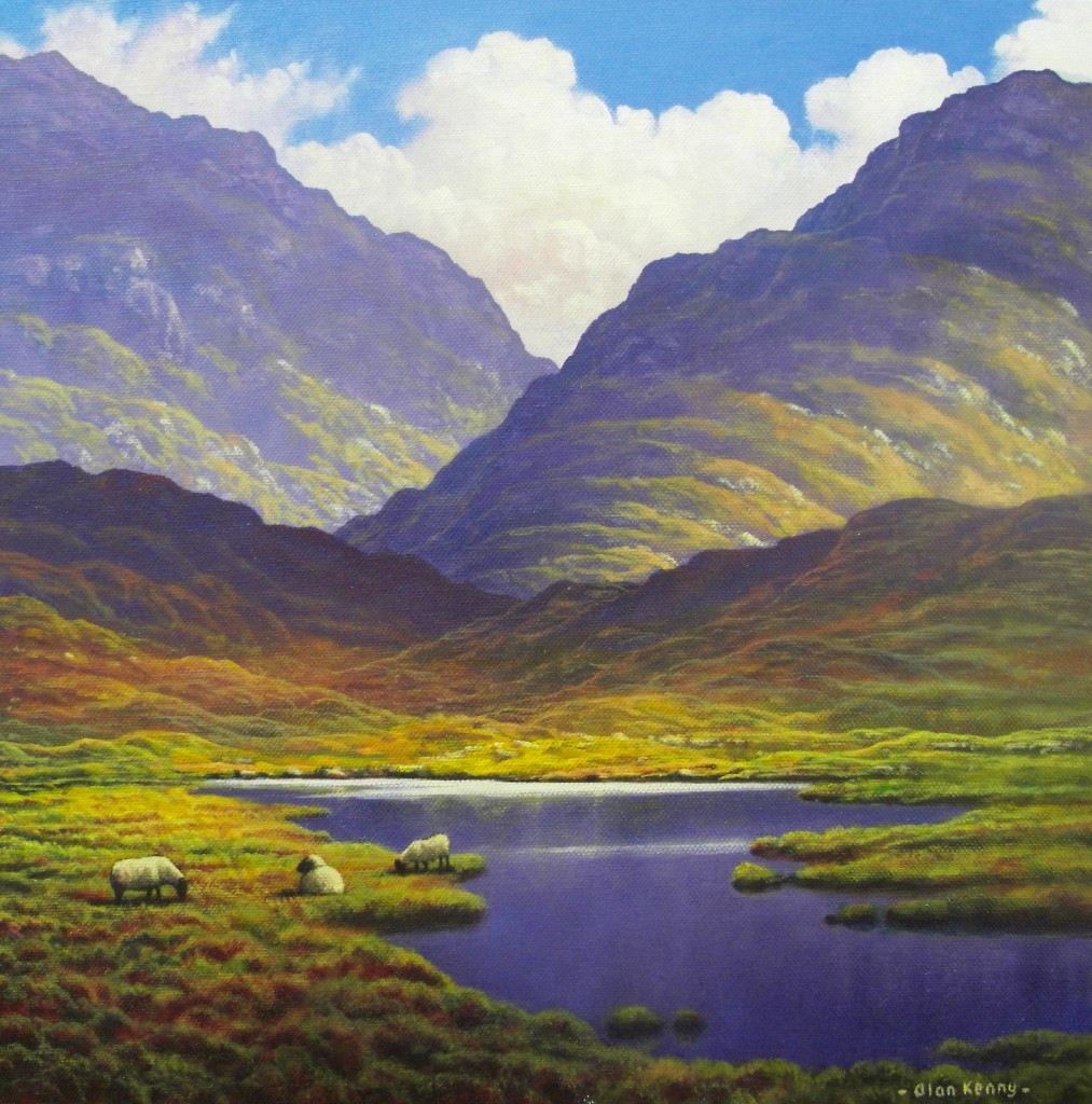 Maam Cross Landscape with sheep by Alan Kenny