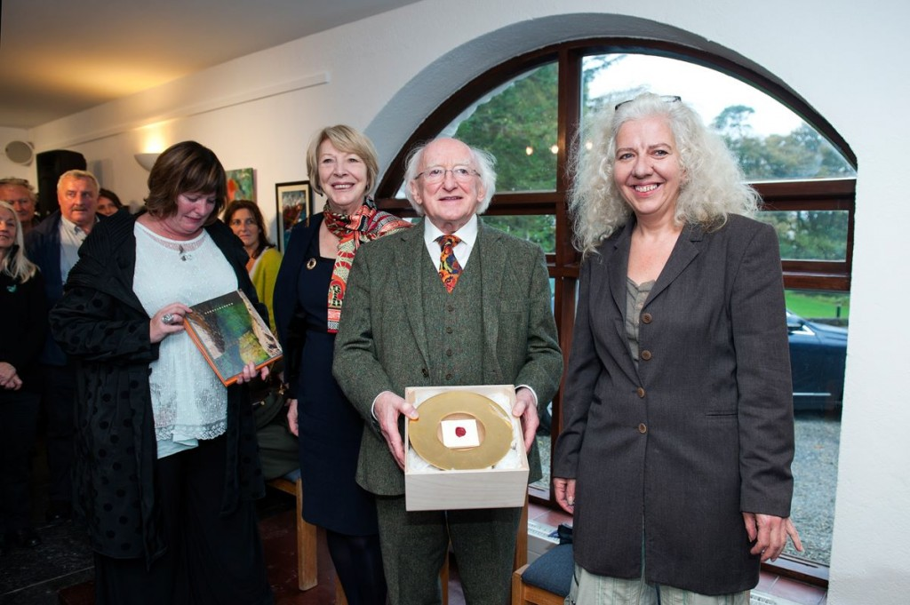 President Higgins with Angie Williams