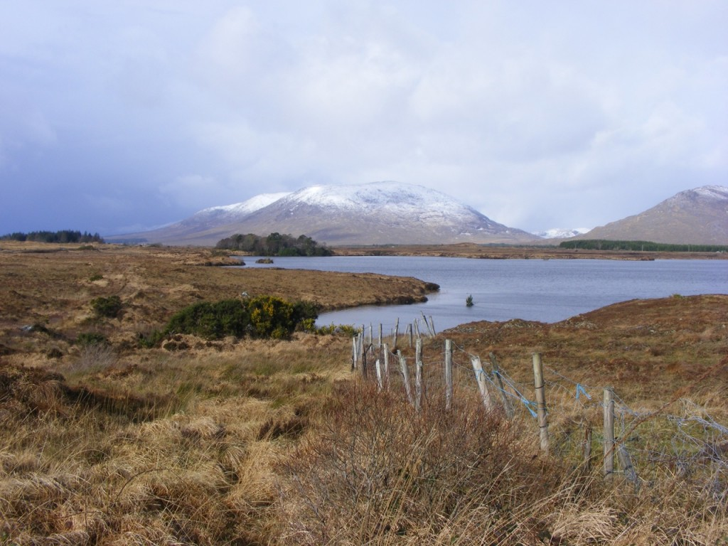 Snow capped mountains in Connemara